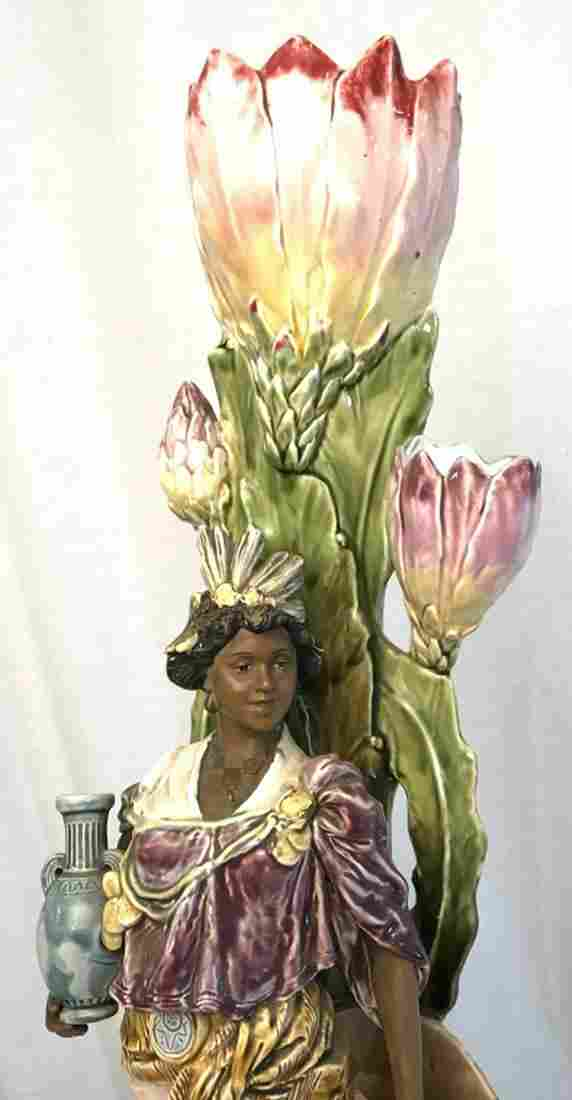 Victorian Majolica Figural Vase