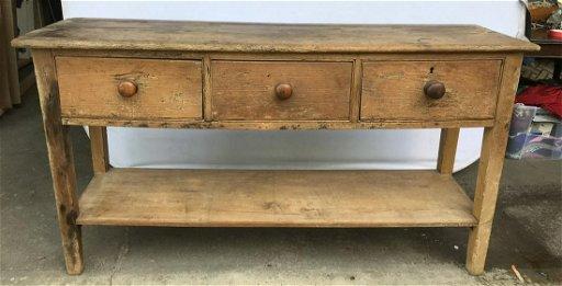 Antique Rustic Pine Console Table