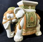 Hand-Painted Asian Ceramic Elephant Plant Stand
