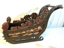 Antique Hand-Painted Folk Art Sleigh for Doll