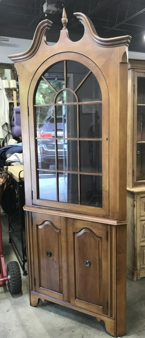 Vintage Wood Glass Corner Cabinet, PAINE
