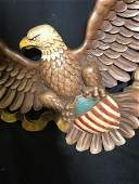 Wood Eagle w Spread Wings Wall Plaque