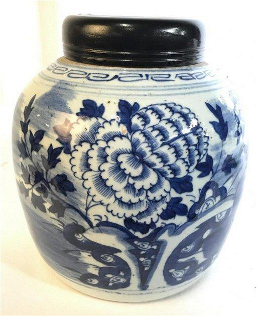 Antique Blue White Asian Ceramic Ginger Jar