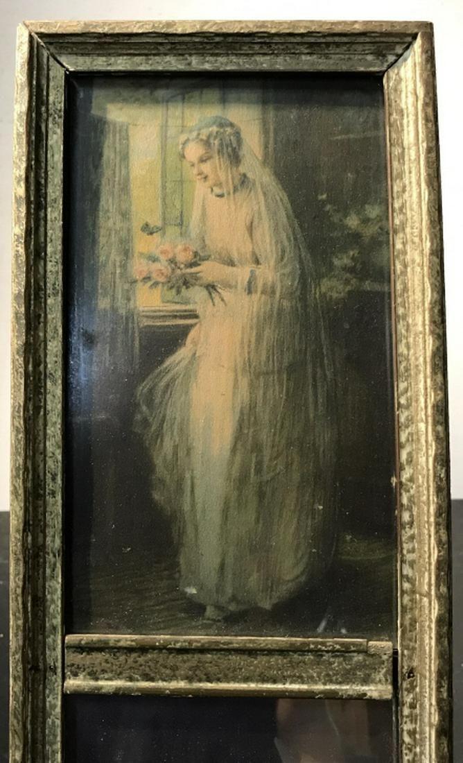 Vintage Trumeau Mirror W Bridal Print