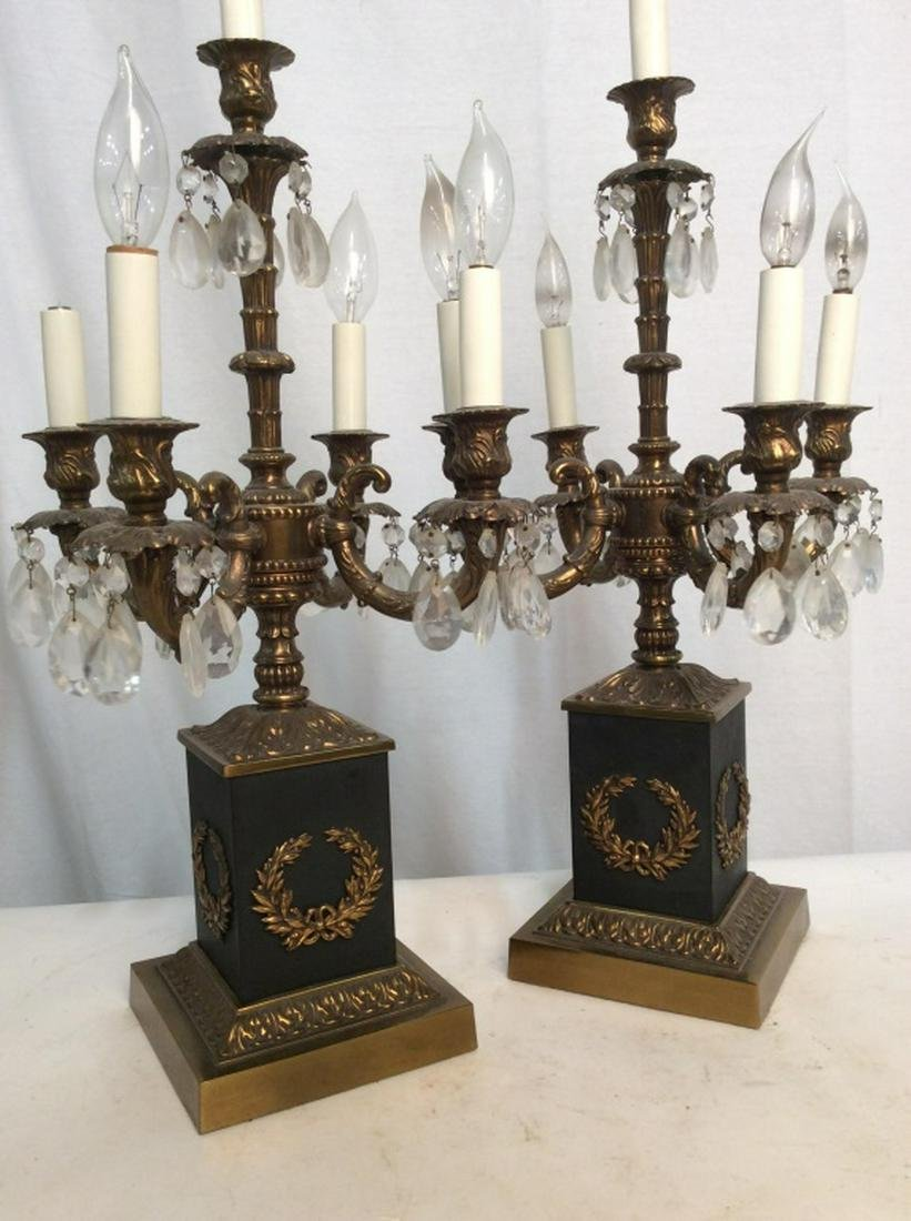Pair Table Lamps W Brass & Crystal Details