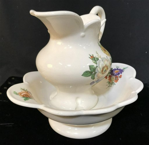 SIGNED, Vintage Ceramic Mini Wash Basin & Pitcher