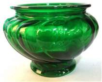 3 Green Glass Vintage Vases