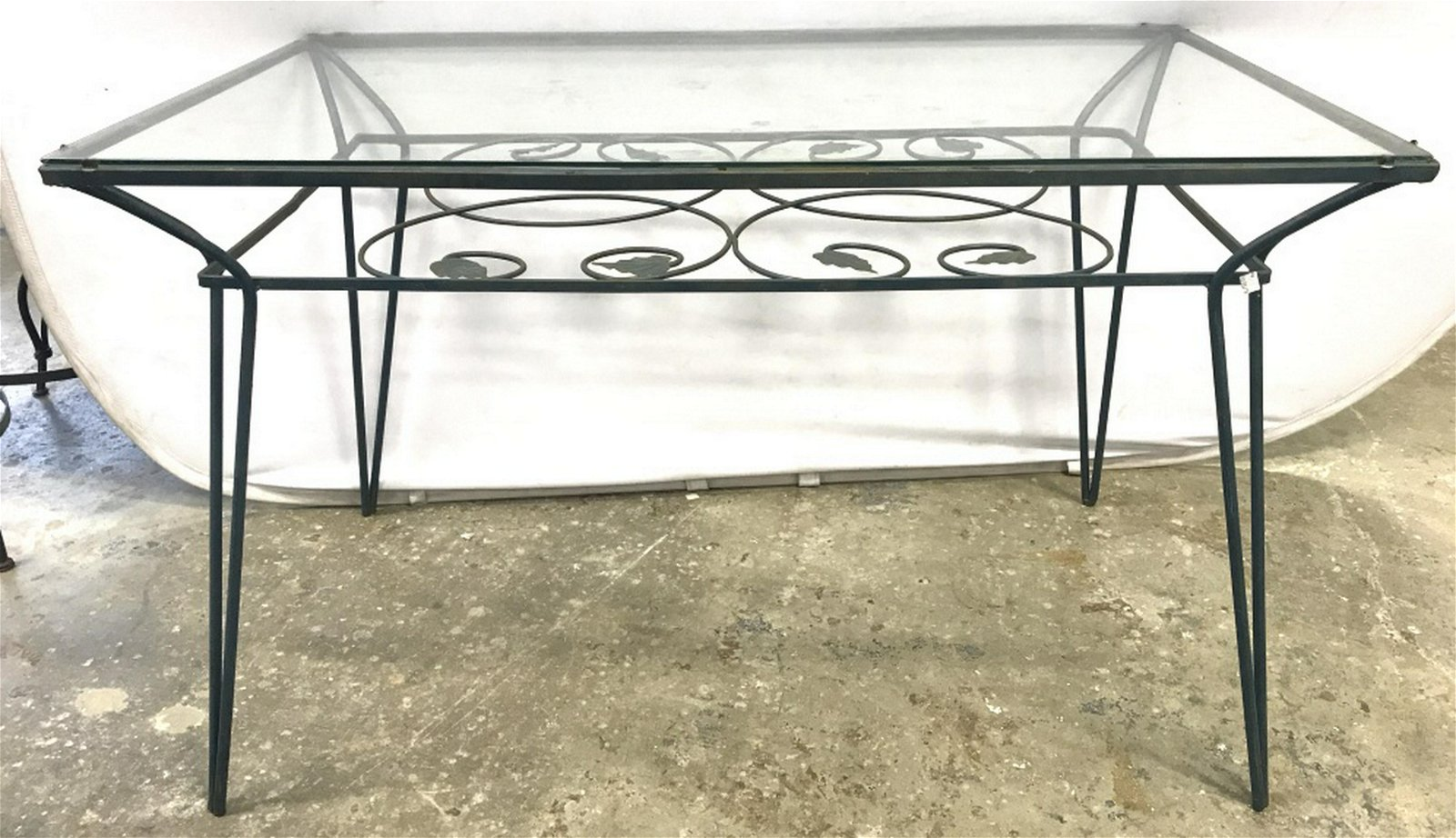 Vintage Outdoor Glass Top Metal Dining Table