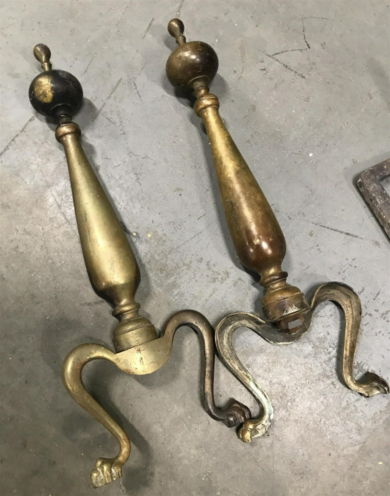 Pair Brass Claw Foot Andirons