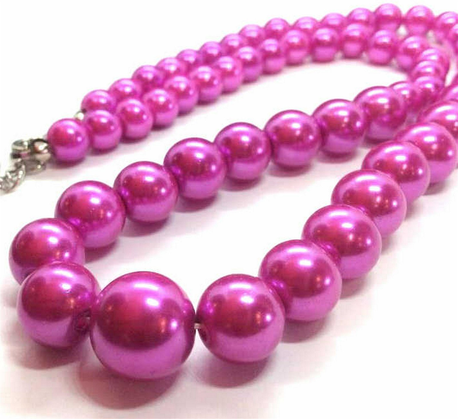 Pink toned Pearl Style Costume Necklace Bright pink