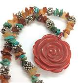 Mixed Materials Beaded Necklace Metal beads with