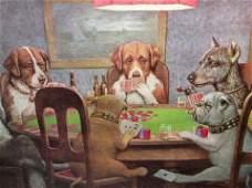Lot 5 Framed Prints, Dogs Playing Poker Lot 5 Framed