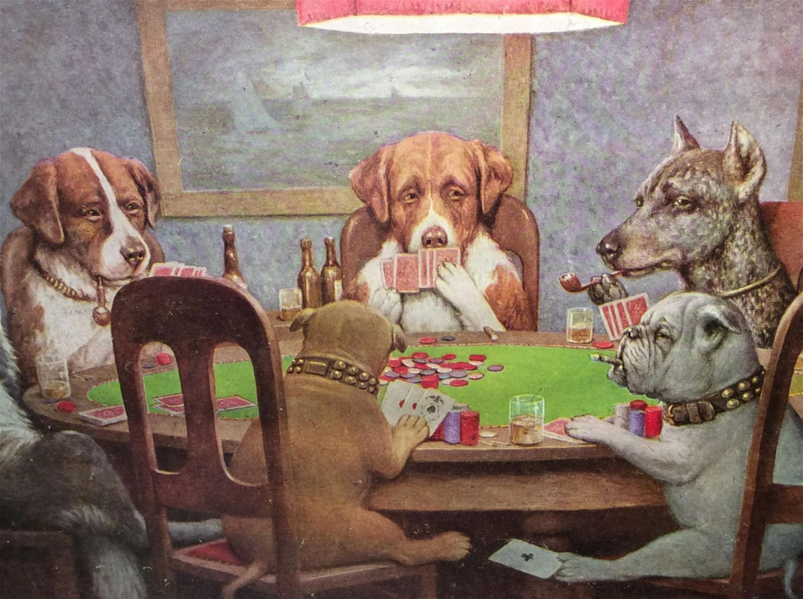 Lot 5 Framed Prints, Dogs Playing Poker Lot 5 Framed