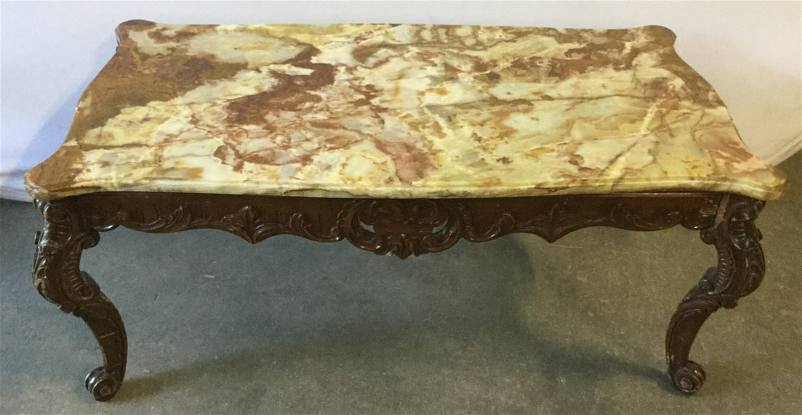 Ornately Carved Wood Coffee Table W Stone Top Stone top