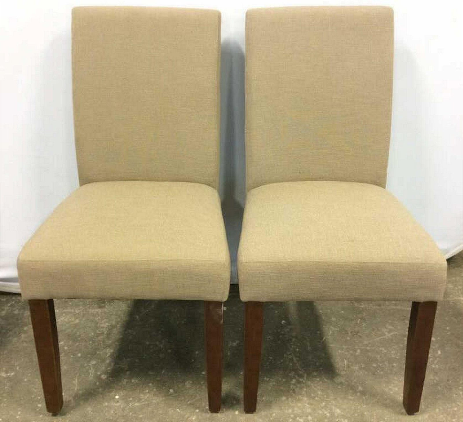 Pair Sand Toned Side Chairs Chairs are sand toned. Each