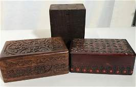 Lot 3 Hand Carved Decorative Wooden Boxes Wood Carved &