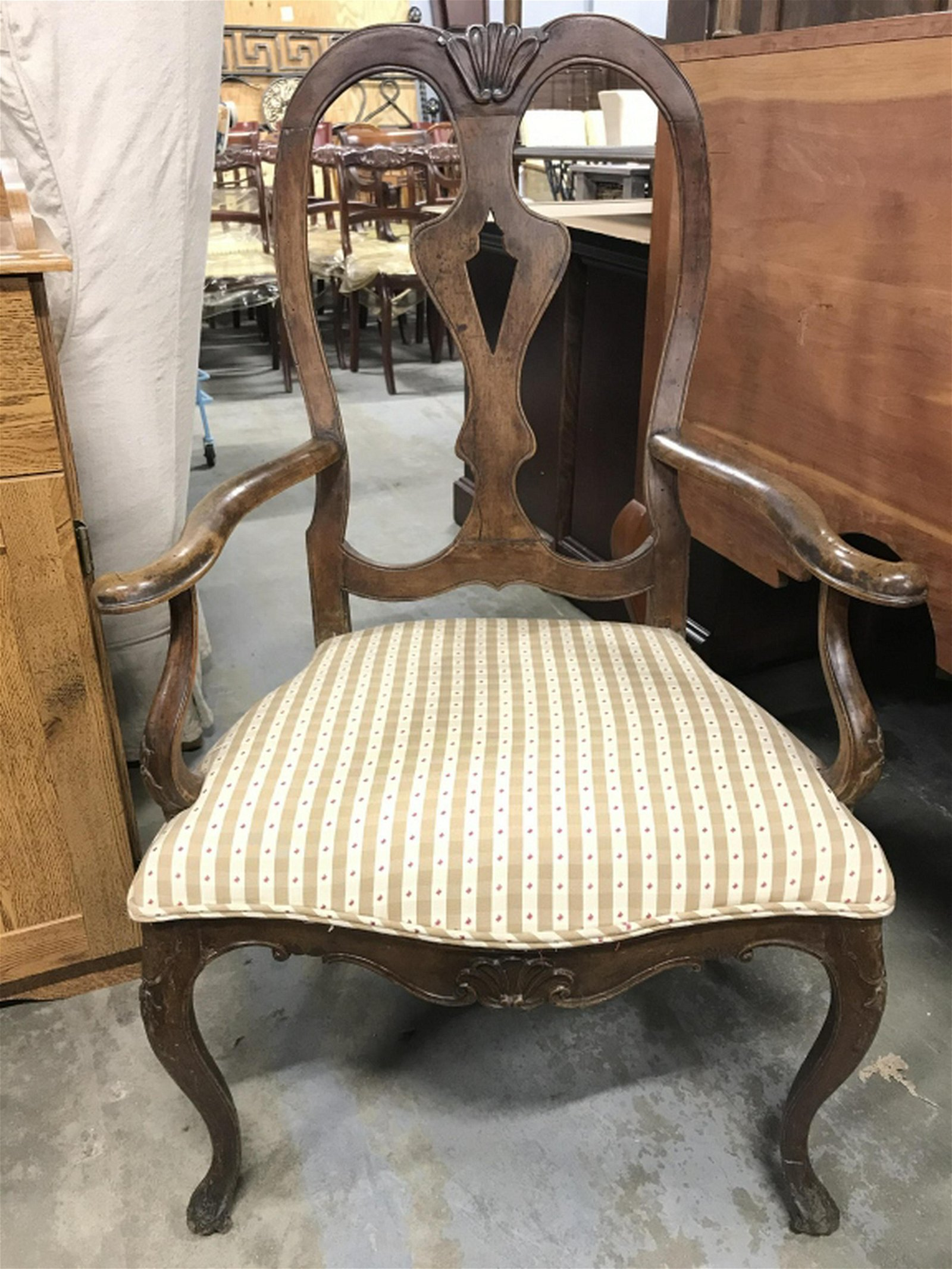 Carved Wooden Upholstered Seat End Chair End chair has