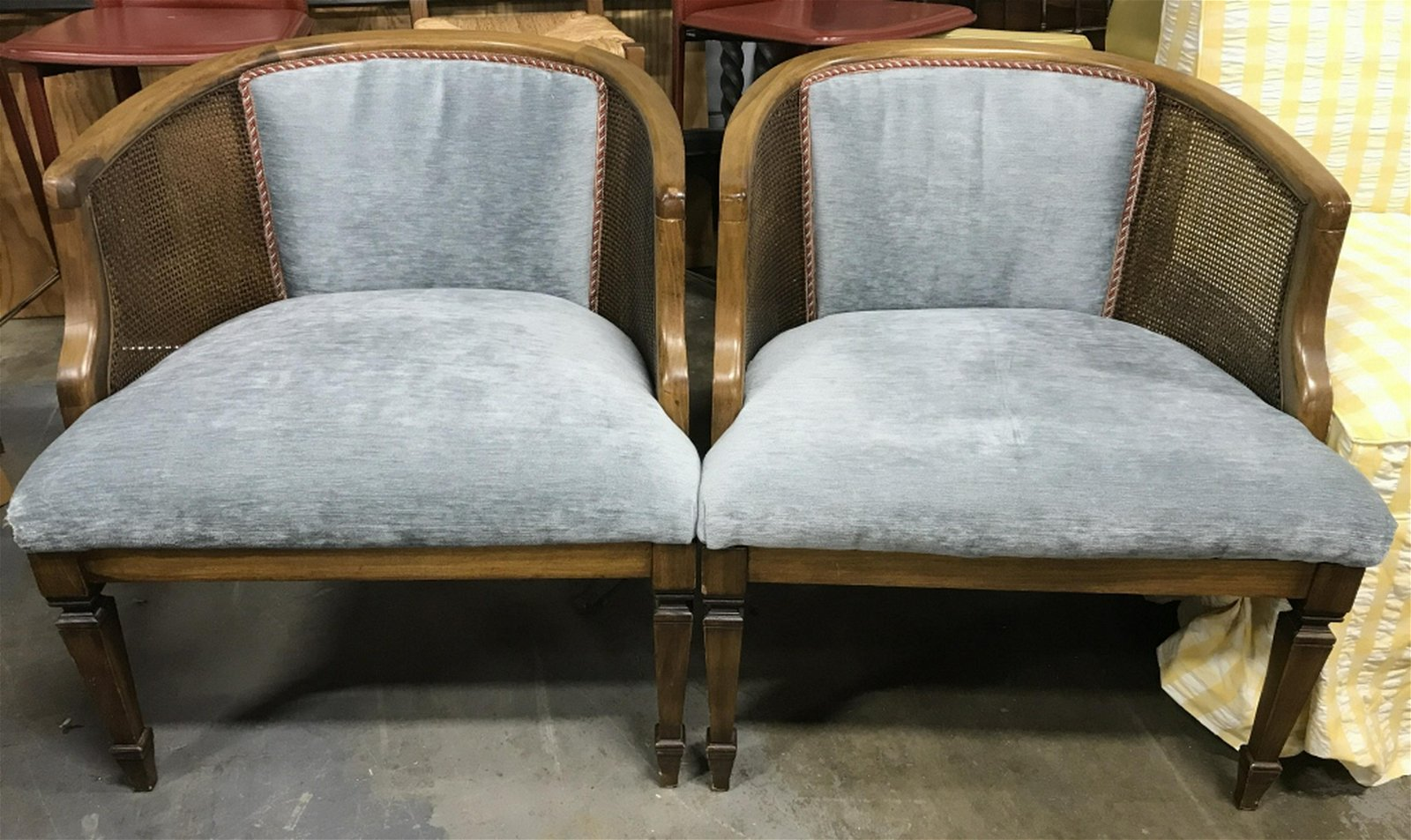 Pair Upholstered Caned Curved Back Chairs Lot includes