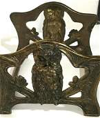 Owl Motif Brass Expandable Bookends Vintage or Antique