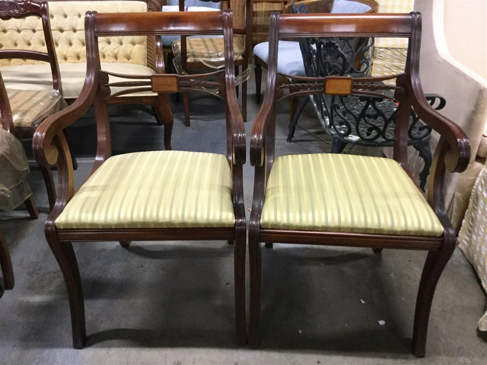 Pair Carved Wooden End Chairs W Seat Cushions Lot