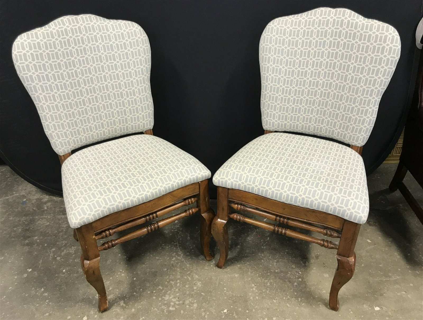 Pair Wood Dining Chairs W Upholstered Seat & Back Pair