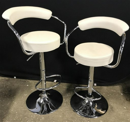 Groovy Pair Modern Chrome Frame Adjustable Bar Stools Pair Of Alphanode Cool Chair Designs And Ideas Alphanodeonline