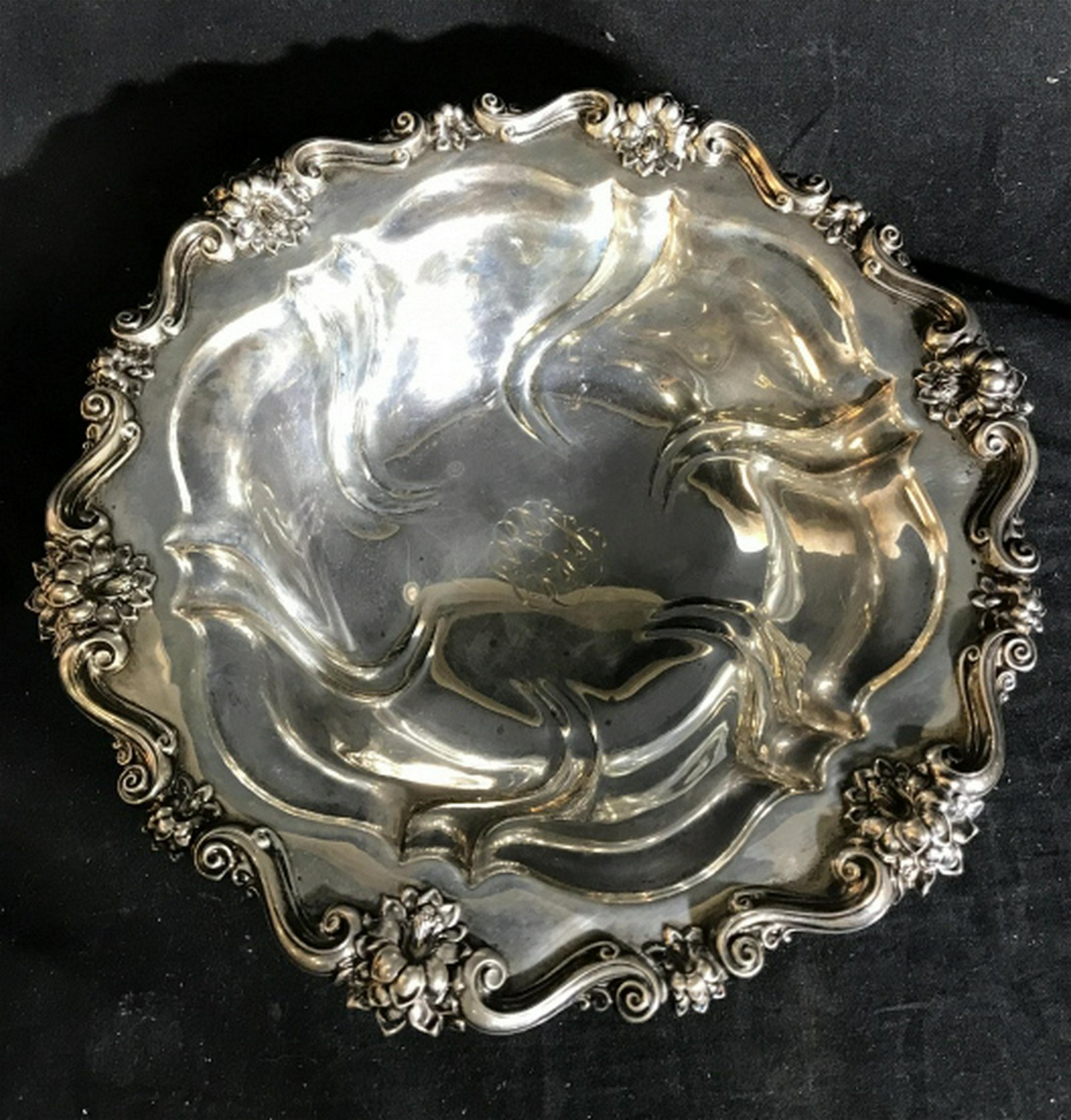 Antique Sterling Silver Centerpiece Bowl Swirl pattern