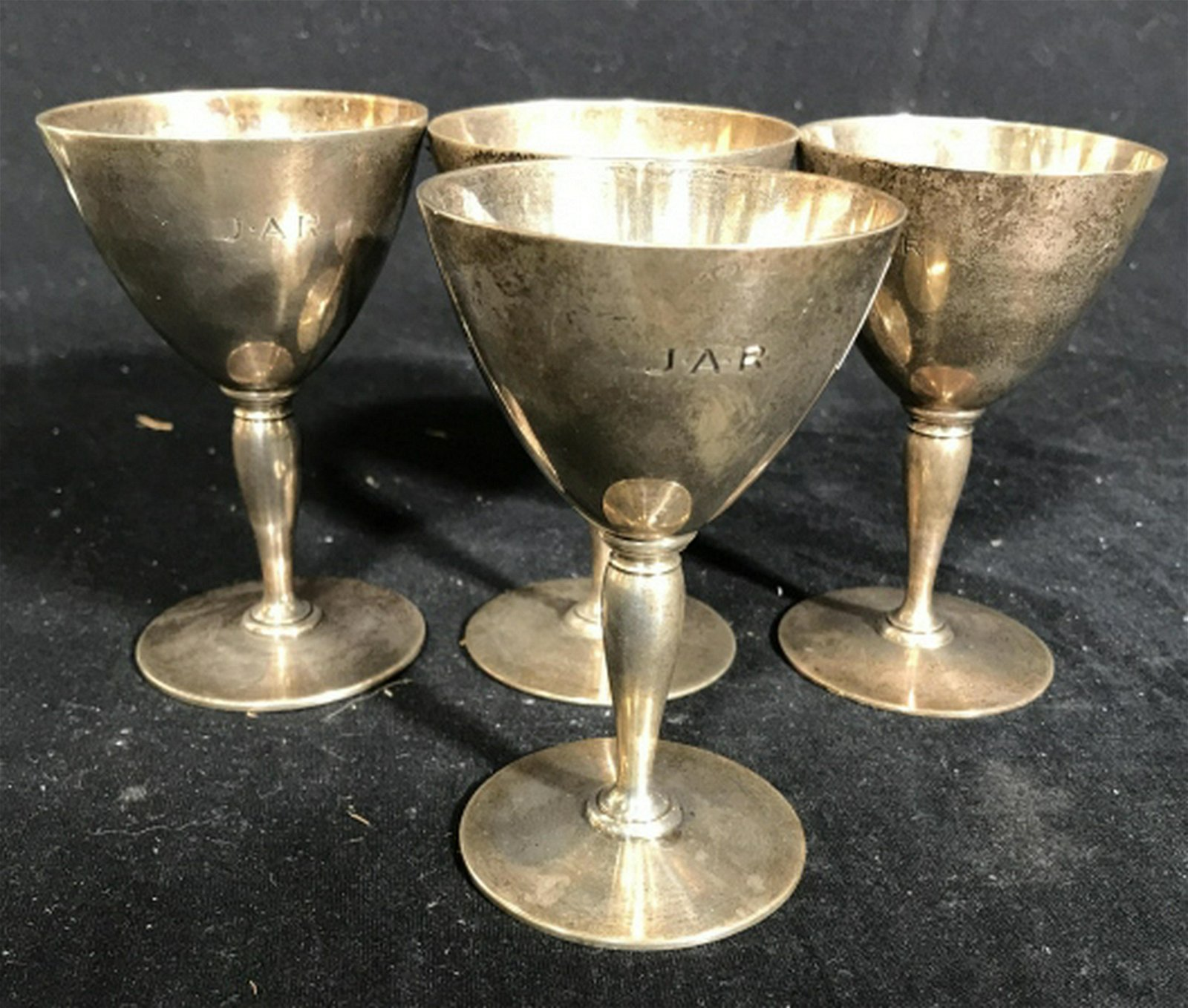TIFFANY & CO Set 4 Sterling Silver Goblets Wine cups,