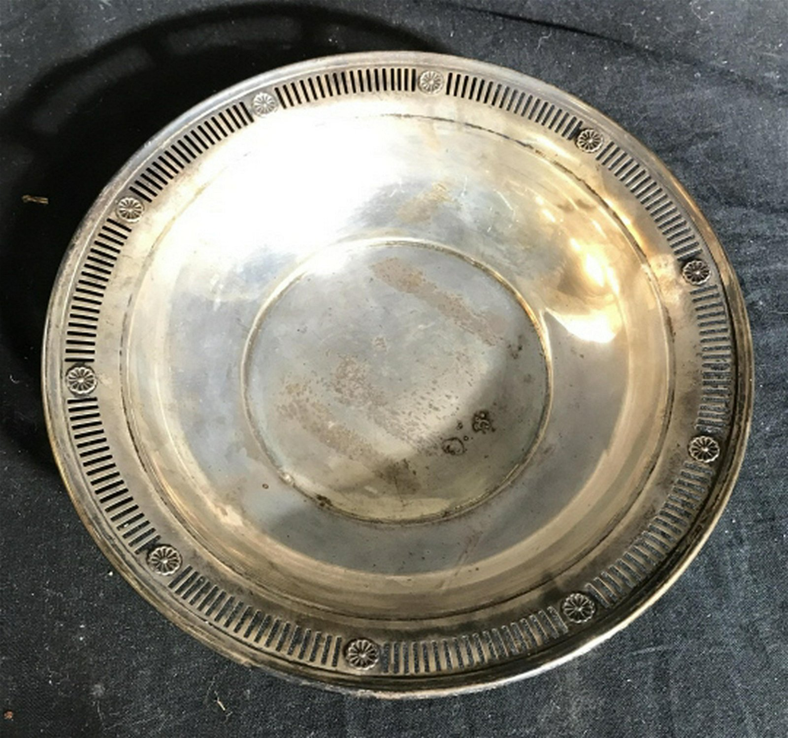 Pierced Repousse Antique Sterling Bowl Sterling Silver