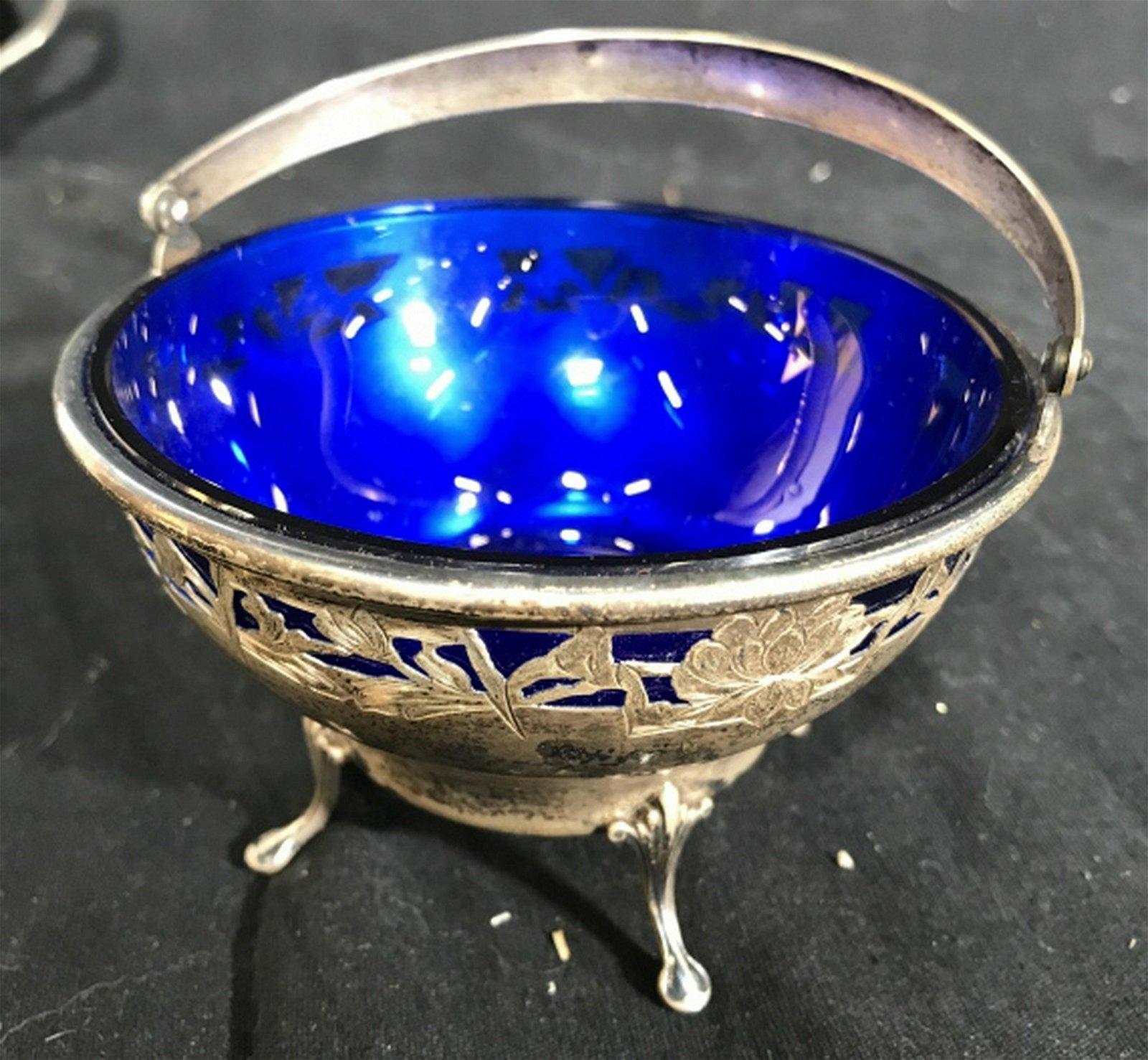 Sterling Silver Cobalt Blue Glass Basket Bowl Art