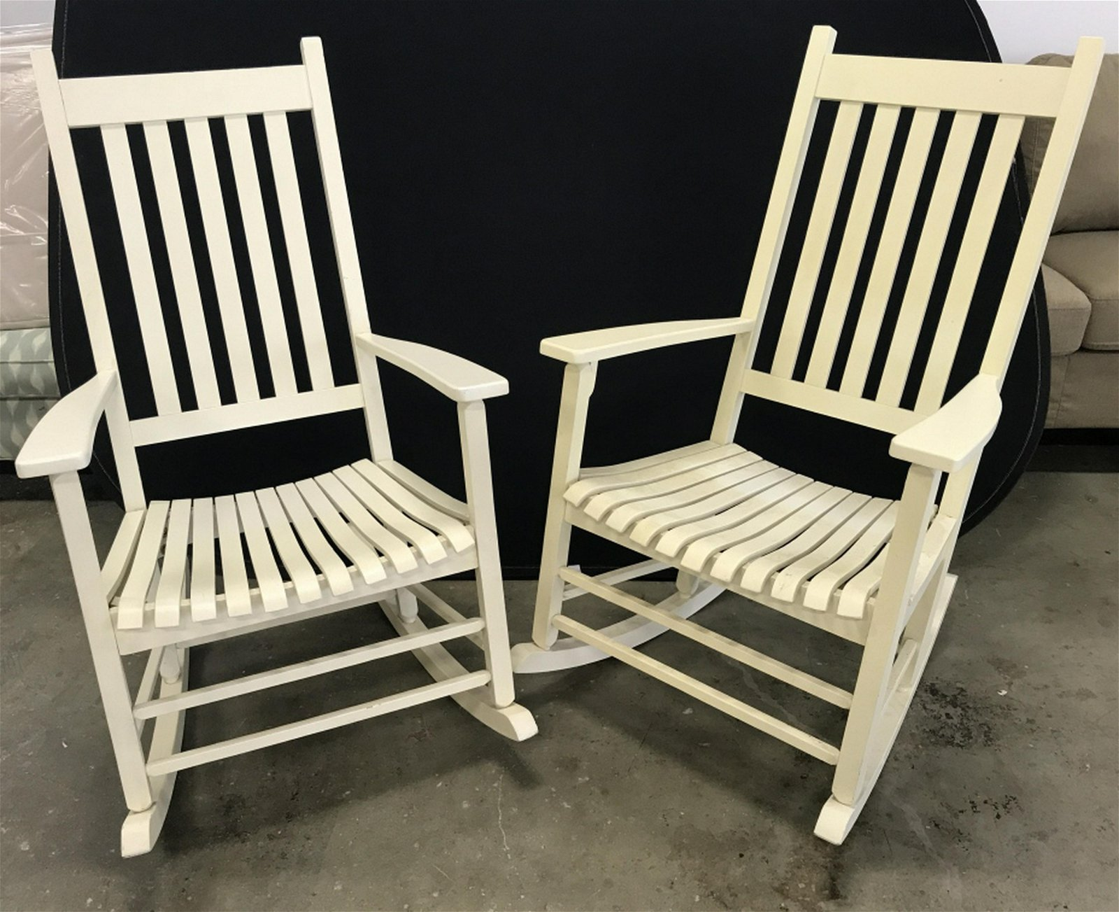 Pair Painted Wooden Rocking Chairs Rocking chairs are