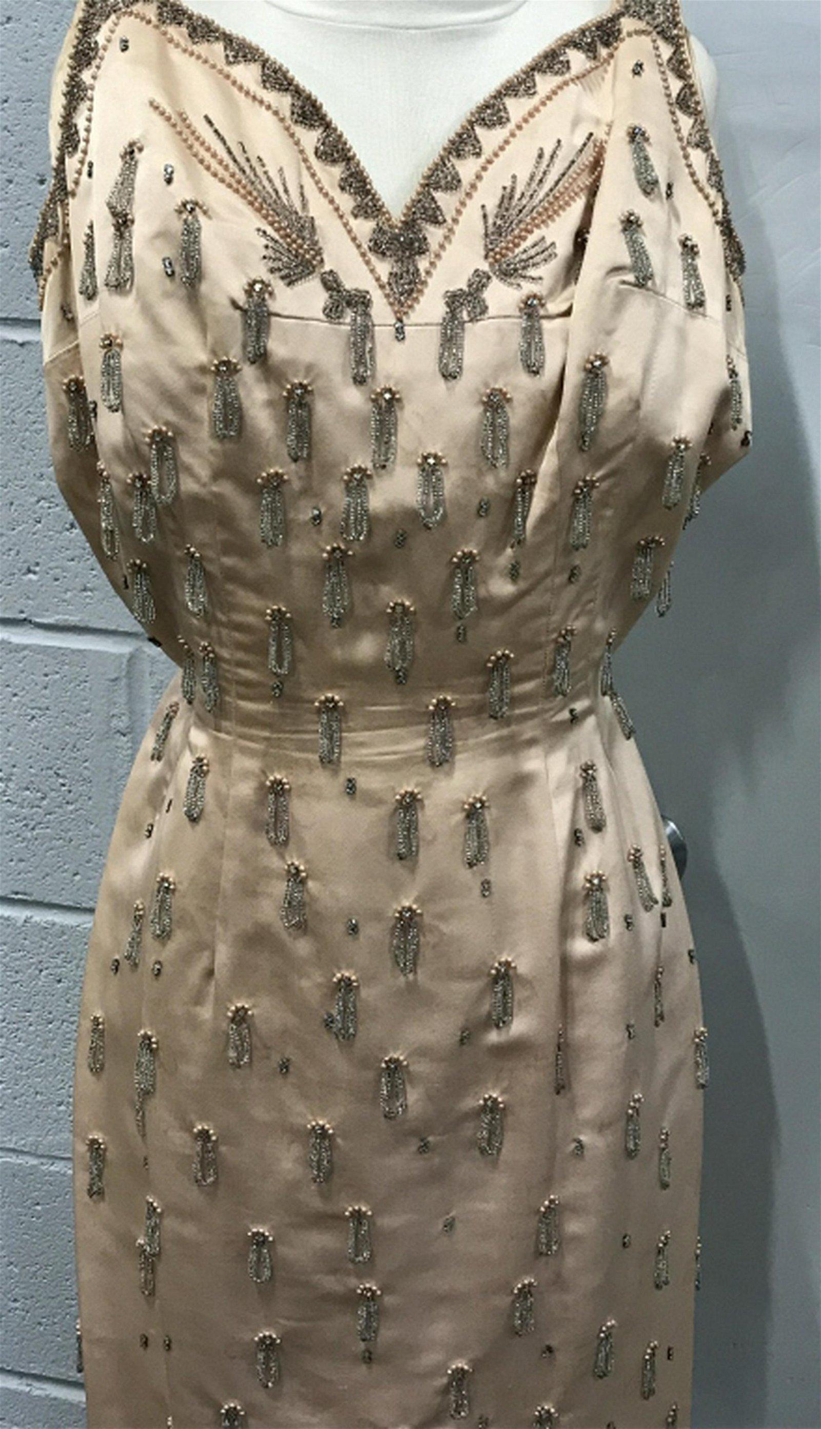 Vintage Beaded Satin Coral Cocktail Dress V shaped