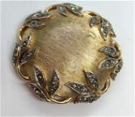 TRIFARI Etched gold toned metal brooch pin