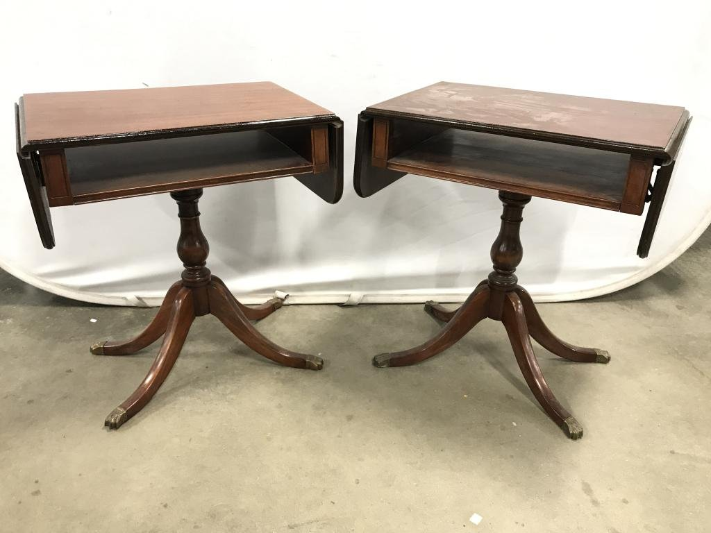 Pair Vintage Drop Leaf Wooden Side Tables
