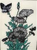 Framed Floral Print W Metallic Details