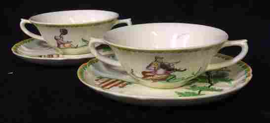 Pair Italian Ceramic teacups with saucers