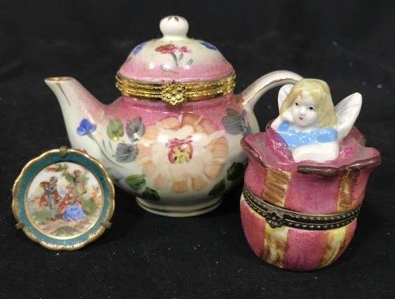 Lot 3 Vintage French Porcelain Pill Boxes and More