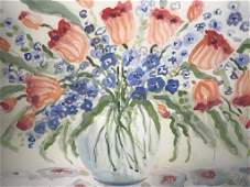 Signed Floral Watercolor Painting On Arches Paper