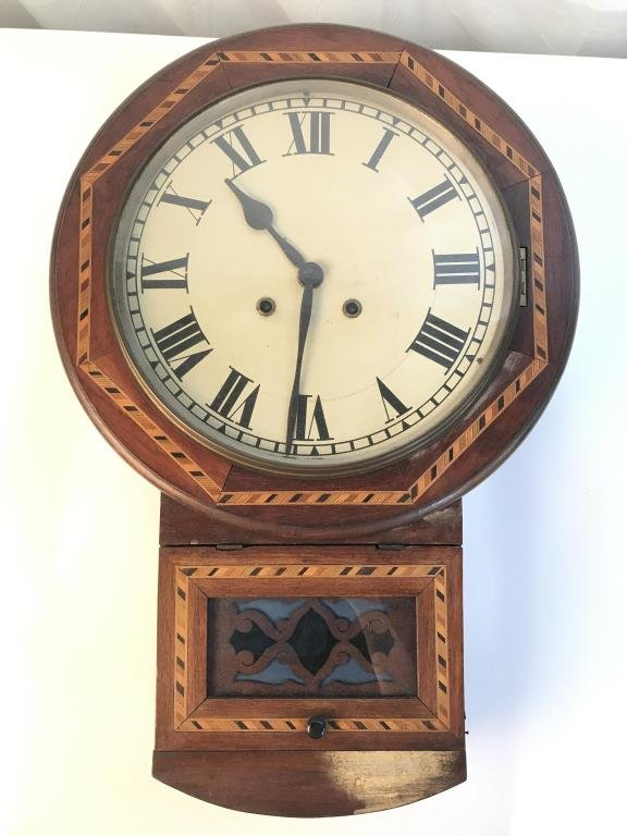 Vintage Wooden Wall Clock With Inlaid Design