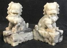 Pair Carved Natural Stone Chinese Foo Dog Figurals