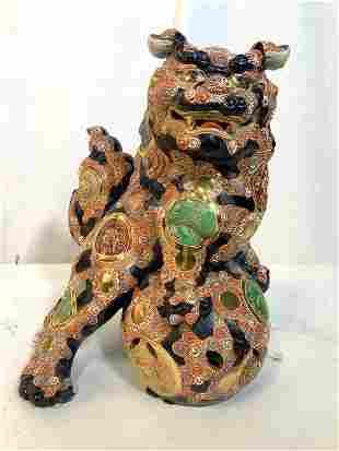 Oversize Grand Ceramic Chinese Temple Lion Foo Dog