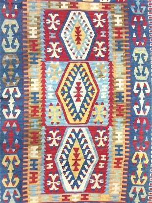 Vintage Handmade Geometrically Detailed Wool Rug