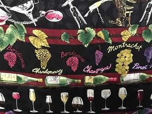 Vntg. Nicole Miller Grapes & Wines Lrg Silk Scarf