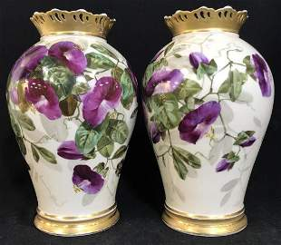 Pair French Paris Porcelain Botanical Vases