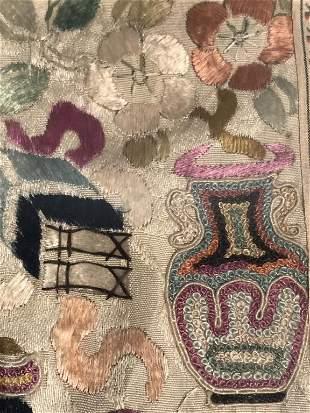 Asian Silk Embroidery Art Panel