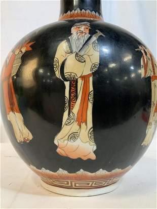 Asian Figural Painted Ceramic Vase