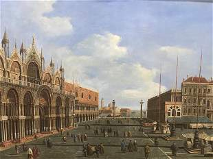 Oversized Signed Oil Painting on Canvas, Venice