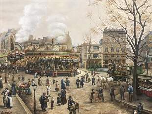 Oversized Signed Oil Painting on Canvas, Paris