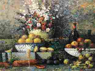 Signed Oil Painting on Canvas, Food Still Life