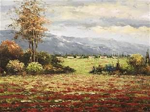 Signed Oil on Canvas, Red Flower Landscape